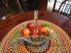 VINTAGE LARGE CRYSTAL PRESSED HEAVY GLASS BASKET W/HANDLE-BEAUTIFUL