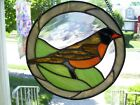 Stained Glass American robin Sun catcher Real Glass