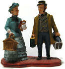 Lemax Christmas Village Figures Victorian Couple Travelers Dickens Luggage Books