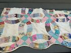 Vintage Machine Quilted Feedsack Fabric Double Wedding Ring Cutter Quilt Piece