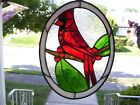 Stained Glass Cardinal Sun catcher Real Glass