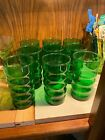 Forest Green Anchor Hocking Whirly Twirly Drinking Tumblers Set of 9