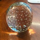 VINTAGE ART GLASS CONTROLLED BUBBLES PAPERWEIGHT LARGE OVAL