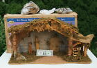 28 long 16 Piece WOOD MOSS Xmas CRECHE STABLE NATIVITY MANGER ONLY LIGHTED