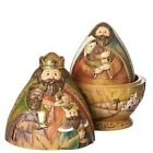 Nesting Christmas Nativity Scene Figurines 3 Piece Set 130821 Decoration New