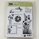 Stampin Up Retired Just Believe Rubber Stamps Flowers Silhouettes Thank You
