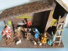 VINTAGE NATIVITY SET RARE WOODEN STABLE  HARD PLASTIC FIGURINES