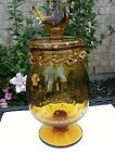 VTG MCM Rainbow GLASS CONTROLLED BUBBLE AMBER COVERED BIRD TOP COOKIE JAR
