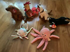 Ty Beanie Babies Inky , Goochy, Sequoia, Siam, Rooster, Zip (2 NO Tags)