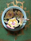 Black Handpainted Art Deco Black Paragon Tea Cup And Saucer Pansies Blue