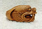 Antique Signed Netsuke Carved Boxwood Dragonfish Figure with Glass Eyes