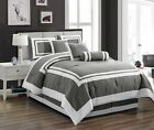 Clearance Sale Chezmoi Collection 7 Piece Gray White Hotel Style Comforter Set