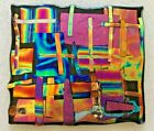 DICHROIC FUSED GLASS SCULPTURE MOSAIC CROSS HATCH  BY ARTIST CARTER 8