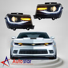 Pair For 2014 15 Chevrolet Chevy Camaro LED Headlights Sequential Turn Indicator