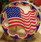 Peggy Karr Fused Glass AMERICAN FLAG Plate Signed 2001