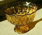 Vintage Amber Carnival Glass Pedestal Compote Candy Dish