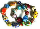 Murano Italian Millefiori Glass Set of Two Bracelets