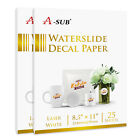 A SUB 50 Sheets 85x11 Laser WHITE Waterslide Decal Transfer Paper Water Slide
