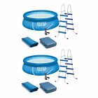 Intex 15 x 48 Inflatable Above Ground Swimming Pool Ladder And Pump 2 Pack