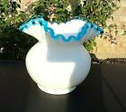 Vintage FENTON AQUACREST WHITE GLASS CRIMPED  RUFFLED BALL VASE