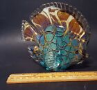 VINTAGE MURANO ART GLASS TEAL TURQUOISE AMBER ANGEL FISH SCULPTURE PAPERWEIGHT