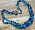 Vintage Aqua  Cobalt Blue Glass Beaded Necklace Pretty
