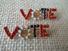 2 Vintage Patriotic Red White Blue Pronged Milk Glass VOTE Pin Brooch Election