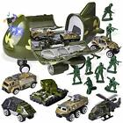 15 PCS Military Toy Friction Cargo Airplane with 6 Die cast and Army Men