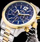 Invicta Men AVIATOR CHRONOGRAPH Blue Dial 18k Gold Silver Two Tone SS 50mm Watch