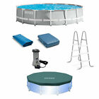 Intex 15ft x 42in Prism Frame Above Ground Swimming Pool Set with Debris Cover