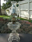 Rare Ornate 1880s Antique Tall MASSIVE SEWING OIL LAMP Old RIVERSIDE GLASS CO