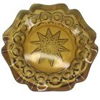 Vintage Amber Glass Ashtray Large 8 Moon Stars Heavy Bowl Pressed Hobstar Cut