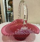 Fenton Cranberry Opalescent Hobnail 9 1 2 Tall Basket Applied Handle Brides