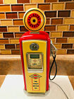 Gas pump am FM transistor radio Clock with lighted top tested working Man Cave