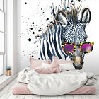 3D Glasses Zebra A444 Animal Wallpaper Mural Self adhesive Removable Amy