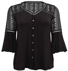 Torrid 2X Plus Size 2X Black Crochet Bell Sleeve Button Front Super Soft Top NWT