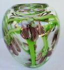 Orient and Flume paperweight hand made orchid and vine glass vase excellent cond