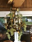 Italian Venetian Glass Fruit Beaded Gold Gilt Tole Chandelier Italy Murano