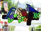 Stained Glass Blue Birds on a Fence Sun catcher Real Glass