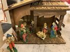 Vintage Nativity Set Made In Italy 7 Pieces Wooden Barn