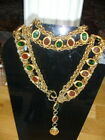 Fabulous Vintage CHANEL Red Green Gripoix Poured Glass Belt Necklace