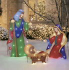 Holiday Time Light Up LED Nativity Set of 3 Christmas Yard Garden Outdoor Indoor