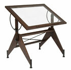 Studio Designs Aries Glass Top Drafting Table Dark Walnut Black