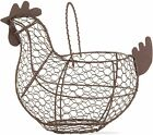 Farmhouse Vintage Chicken Egg Wire Basket with Handle
