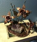 Hand Forged Metal Flower Wrought Art Sculpture With Quartz Rock On Base
