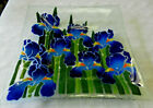 Fused Glass 125 Square Iris Platter Serving Plate by Peggy Karr EXC Cond Disc