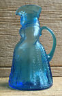Kanawha Art Glass Colonial Lady Woman Aqua Blue Pressed Glass Toby Syrup Pitcher