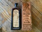 OLD 1900 MEDICINE glass BOTTLE DR THATCHERS LIVER  BLOOD SYRUP With box
