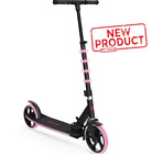 Folding Kids Kick Scooter Adjustable Height Led Light Large Big Wheel Girls Pink