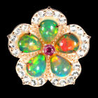 Unheated Pear Fire Opal Ruby White Topaz 925 Sterling Silver Flower Ring